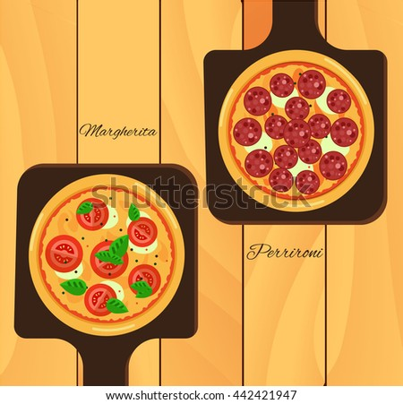 Round hot delicious tasty pizza in flat style. Vector illustration of  Margarita, Pepperoni - stock vector
