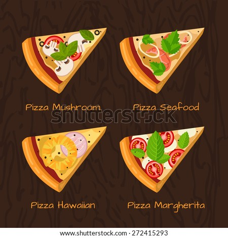 Round hot delicious tasty pizza in flat style. Vector illustration of pizza Margherita, Hawaiian, Seafood, Mushroom. - stock vector