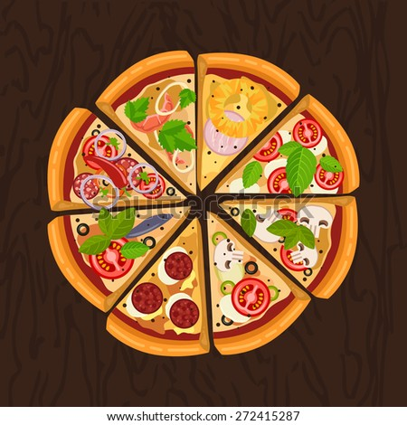 Round hot delicious tasty pizza in flat style. Vector illustration of pizza Margherita, Pepperoni, Capricciosa, Marinara, Seafood, Hawaiian, Mexican, Mushroom. - stock vector