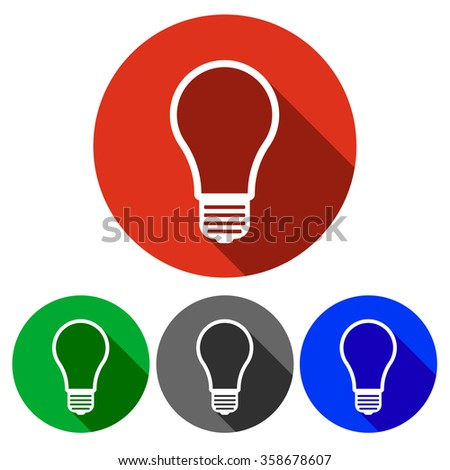 round icon button with a light bulb inside and a shade available in four colors blue, red, green, black - stock vector