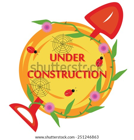 Round icon of under construction with spade, bugs, webs and thorn plant - stock vector