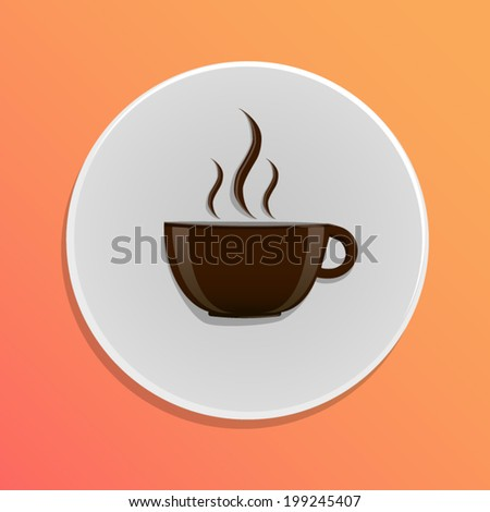 Round icon with coffee cup - stock vector