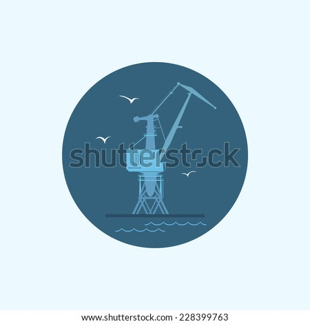 Round icon with colored cargo crane and seagulls in dock, vector illustration - stock vector
