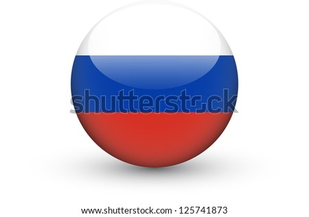 Round icon with national flag of Russia isolated on white background - stock vector