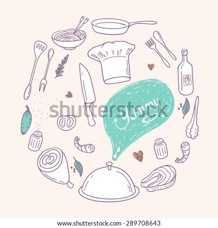 Round illustration with stylized food, hand lettering and scribble speech bubble. Doodle design elements for menu, cafe, books. Culinary background in vector - stock vector