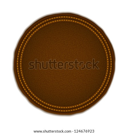 Round leather label, vector eps10 illustration - stock vector