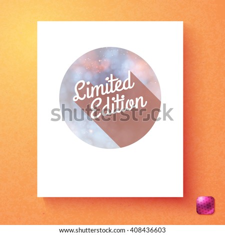 Round limited edition special offer advertising card template in white rectangle over orange background with purple square button in corner - stock vector