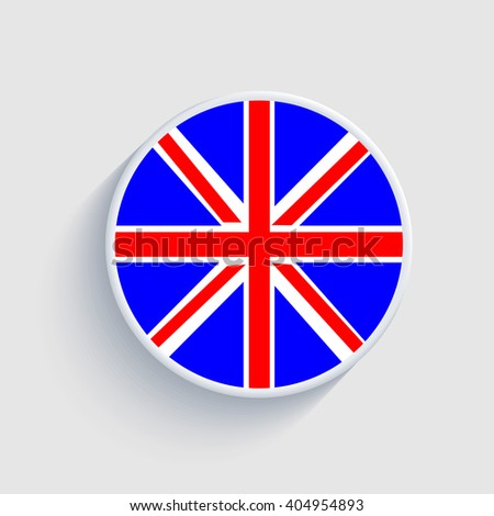 Round logo with English flag - stock vector