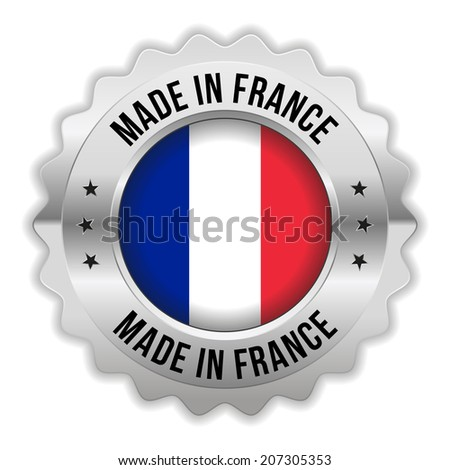 Round made in france badge with chrome border on white background - stock vector