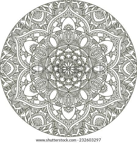 round mandala, abstract ornament design element - stock vector