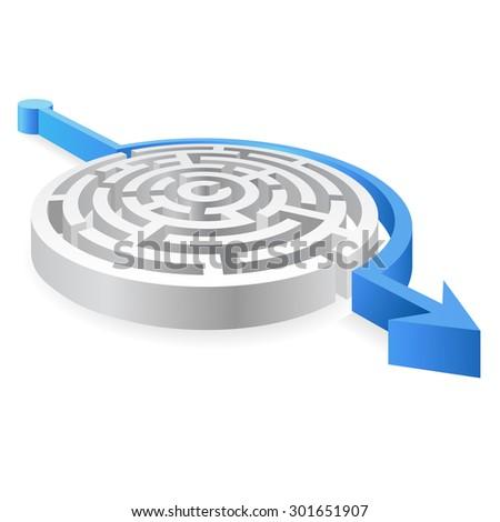 Round maze with a Blue Arrow avoiding it - stock vector