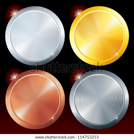 Round Metal Plates. Brushed Golden, Silver, Platinum and Copper Texture. - stock vector