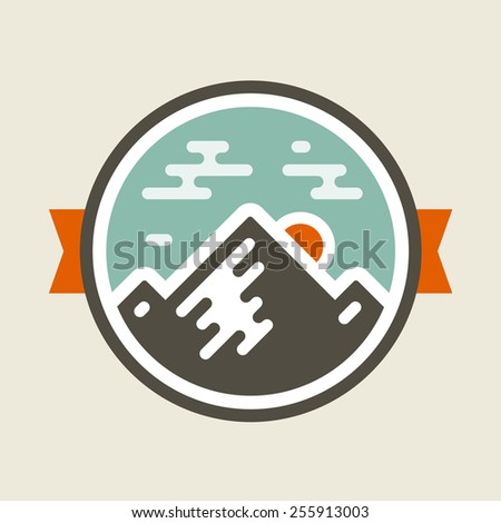 Round mountain badge icon with orange accents - stock vector