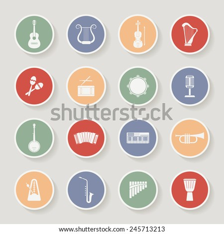 Round Musical Instruments Icons. Vector illustration - stock vector