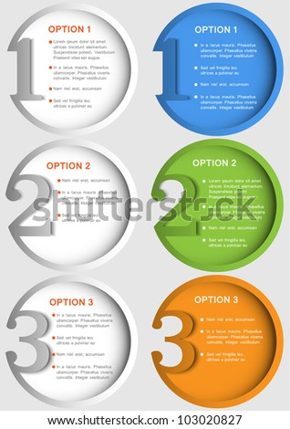 Round numbered banners. Design template in two variants - stock vector