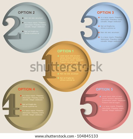 Round numbered banners in retro colors. Creative design template - stock vector