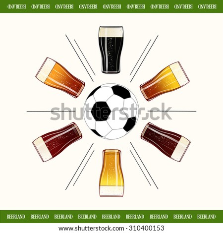 Round of glasses of cold beer with football center poster. Colorful beer pint glass design menu background for pubs and bars. Isolated vector banner or label.  - stock vector