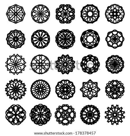 Round ornament set. Vector spirographs - stock vector