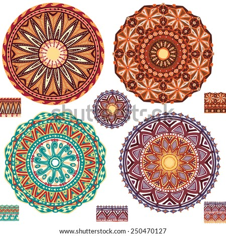 Round ornamental geometric Patterns - stock vector