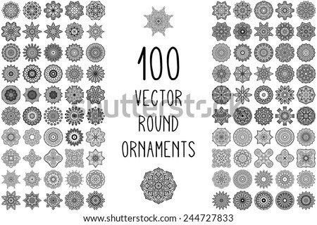 Round ornaments collection. Vintage decorative elements. Hand drawn background. Islam, Arabic, Indian, ottoman motifs.  - stock vector