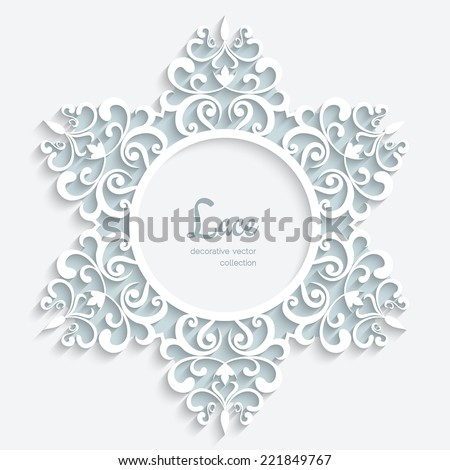 Round paper lace frame with ornamental border, decorative vector label, lacy snowflake on white background, eps10 - stock vector