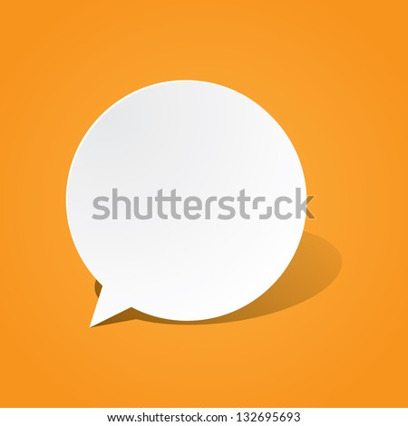 Round Paper Speech Bubble - stock vector