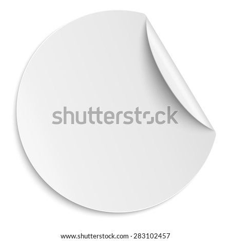 Round paper sticker isolated on white. Light from upper right. - stock vector