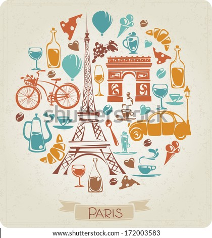 Round pattern in Paris or French theme - stock vector