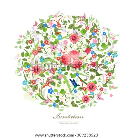 Round pattern of beautiful flowers for your design - stock vector