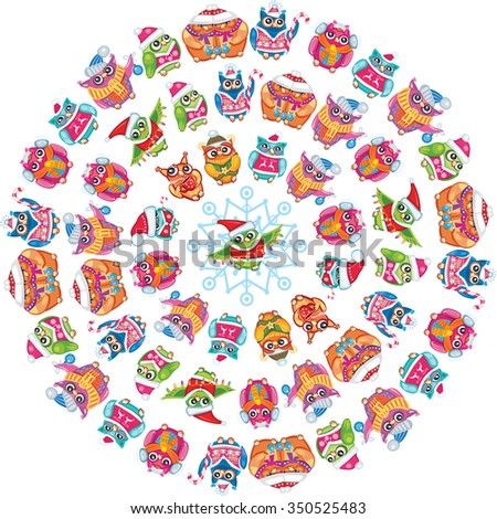 Round pattern with Cute Owls - stock vector