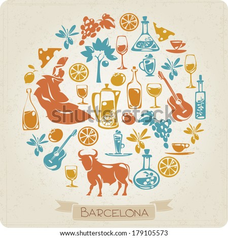 Round pattern with elements symbols of Barcelona - stock vector