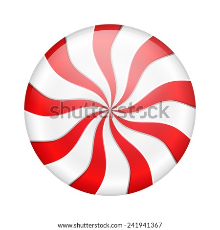 Round peppermint candy on white background, vector eps10 illustration - stock vector