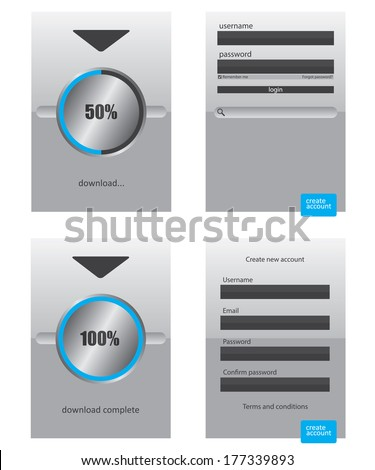 Round progress bar and register log in web element - stock vector