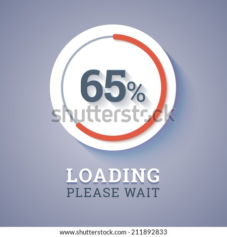 Round progress bar with percents with text loading please wait. Vector illustration. - stock vector