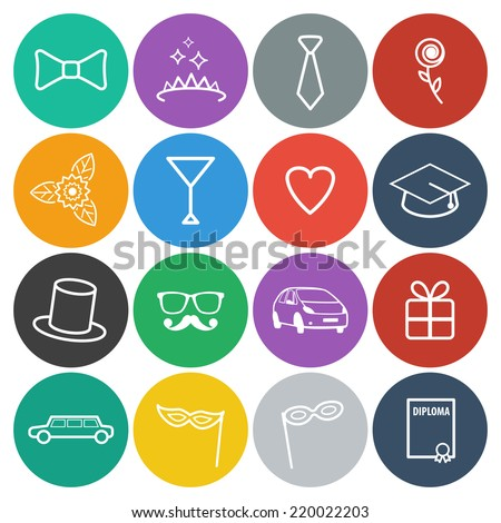 Round prom icons set. Vector flat design - stock vector