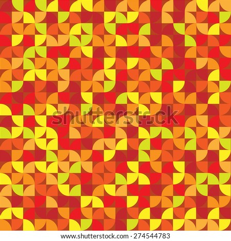 Round segment formed red-orange colored pattern - stock vector