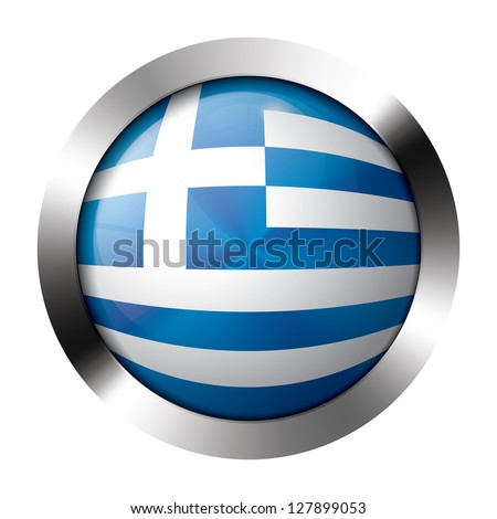 Round shiny metal button with flag of greece europe. - stock vector