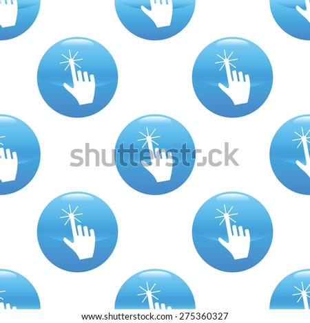 Round sign with hand cursor image repeated on white background - stock vector