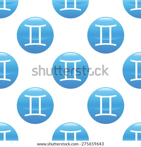 Round sign with zodiac gemini symbol, repeated on white background - stock vector