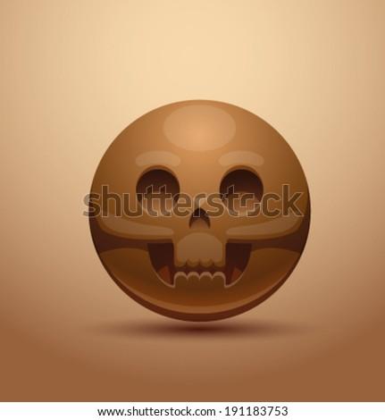 Round skull, vector - stock vector