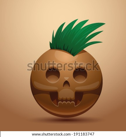 Round skull with punk hair, vector - stock vector
