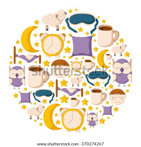 Round sleep background - stock vector