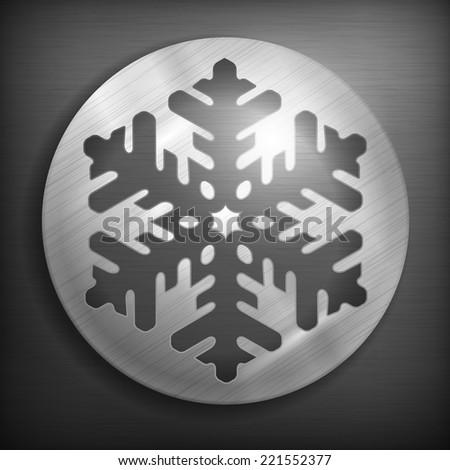 Round snowflake icon on metallic background, vector illustration - stock vector