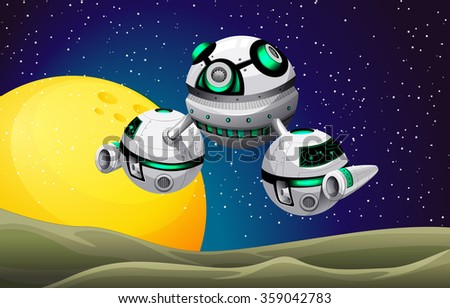 Round spaceship floating in the space illustration - stock vector