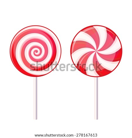 Round Spiral Candy Lollipop. Red and White on Stick. Vector - stock vector
