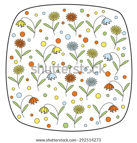 Round square element with daisy flowers and bellflowers - stock vector