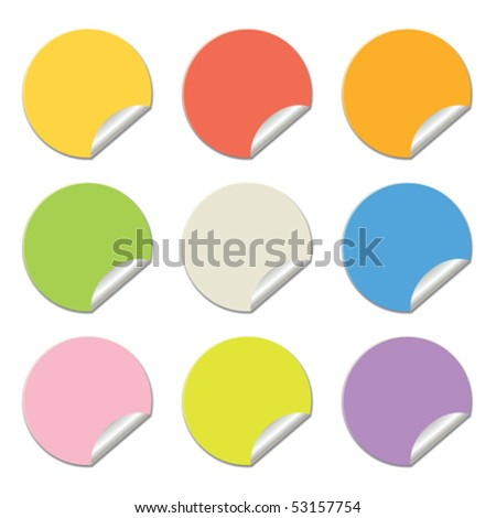 round stickers in different colors isolated on white, vector illustration - stock vector
