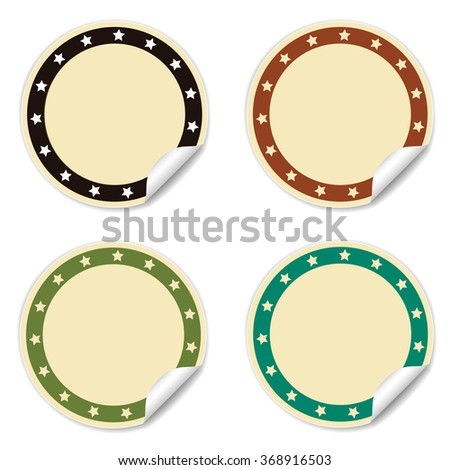 Round stickers set with stars in vector - stock vector
