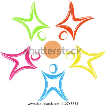 Round symbol from the stylized little men - stock vector