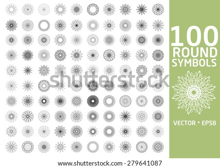 Round symbols set. 100 vector spirographs - stock vector